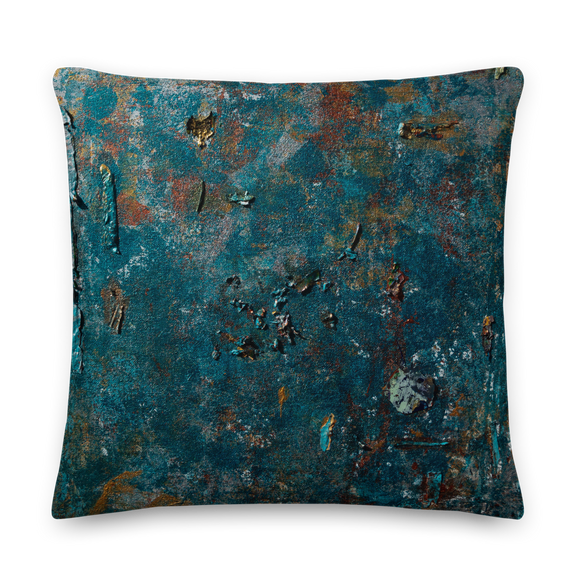 """Fragment of a Rusted Interior Magnified"" Pillow"
