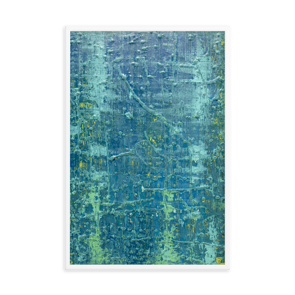 """Aerial View of an Emerald Seascape"" Framed Poster"