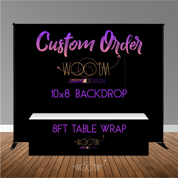 Custom 10x8 Table Banner Backdrop with 8ft Table Wrap/ Step & Repeat, Design, Print and Ship!
