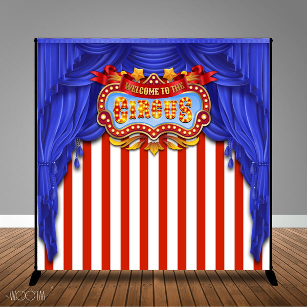 Carnival Circus Themed 8x8 Backdrop / Step & Repeat, Design, Print and Ship!