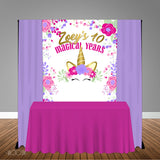 Unicorn Floral 5x6 Table Banner Backdrop/ Step & Repeat, Design, Print and Ship!