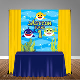 Shark Male 5x6 Table Banner Backdrop/ Step & Repeat, Design, Print and Ship!