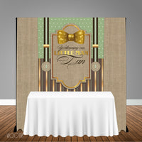 Little Man Gold 5x6 Table Banner Backdrop/ Step & Repeat, Design, Print and Ship!