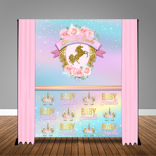 Floral Framed Unicorn 6x8 Banner Backdrop/ Step & Repeat Design, Print and Ship!