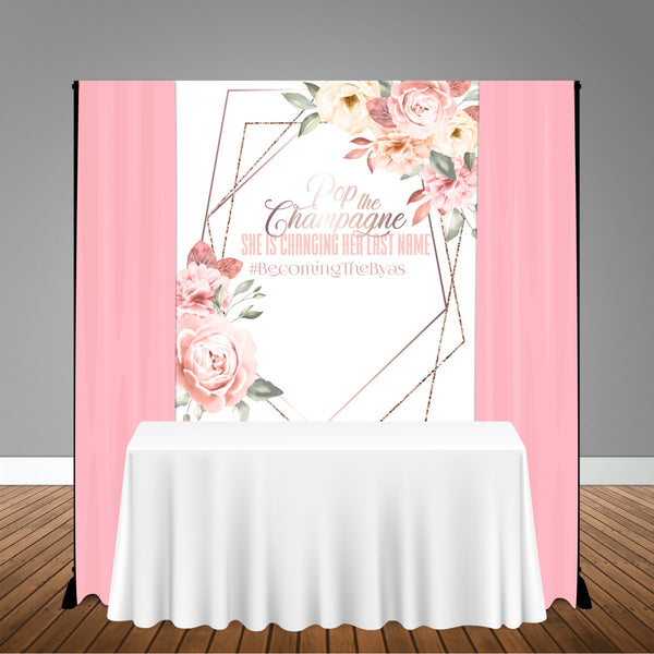 Pink Coral Rose Gold Floral 5x6 Table Banner Backdrop/ Step & Repeat, Design, Print and Ship!