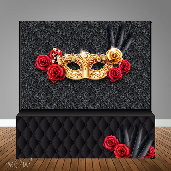 Masquerade 8x8 Table Banner Backdrop with 8ft Table Wrap/ Step & Repeat, Design, Print and Ship!