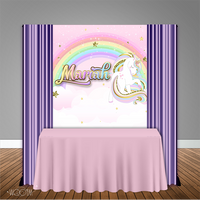 Unicorn Rainbow Glitter 5x6 Table Banner Backdrop/ Step & Repeat, Design, Print and Ship!
