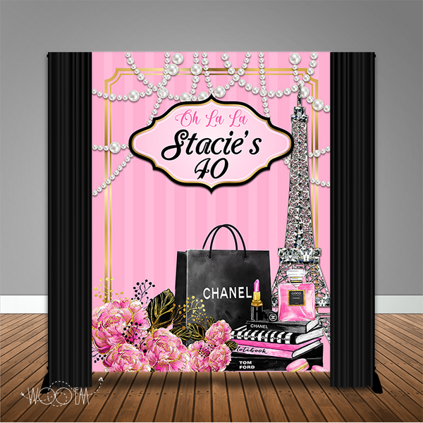 Parisian Fashionista 6x8 Banner Backdrop/ Step & Repeat Design, Print and Ship!