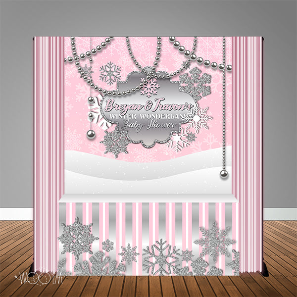 Winter Wonderland Pink Snowflake 6X6 Table Backdrop w/6ft Table Wrap, Design, Print & Ship!