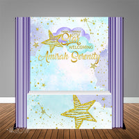 Twinkle Star Lavender 6X6 Table Banner Backdrop with 6ft Table Wrap, Design, Print and Ship!