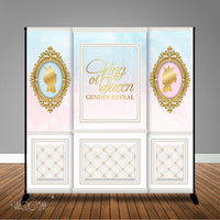 King or Queen Gender Reveal 8x8 Backdrop/Step & Repeat, Design, Print and Ship!