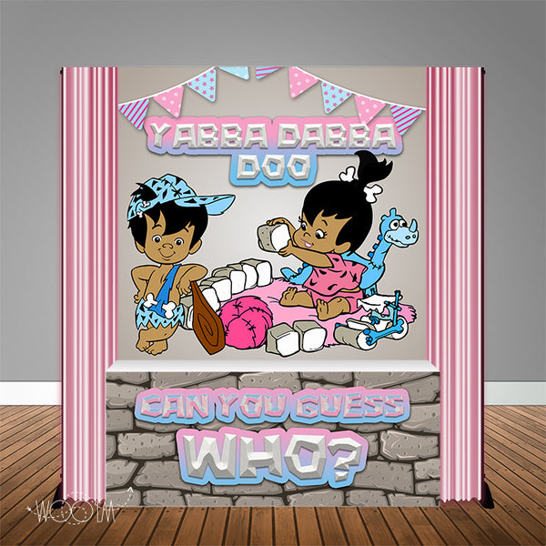Pebbles & Bam Bam Gender Reveal  6X6 Table Banner Backdrop with 6ft Table Wrap, Design, Print and Ship!