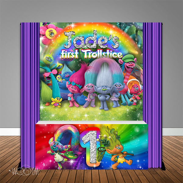 Trolls 6X6 Table Banner Backdrop with 6ft Table Wrap, Design, Print and Ship!