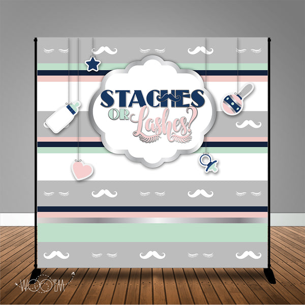 Staches or Lashes Gender Reveal 8x8 Backdrop / Step & Repeat, Design, Print and Ship!