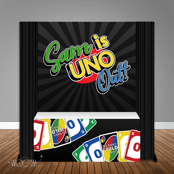 Uno Out Graduation 6X6 Table Banner Backdrop with 6ft Table Wrap, Design, Print & Ship!