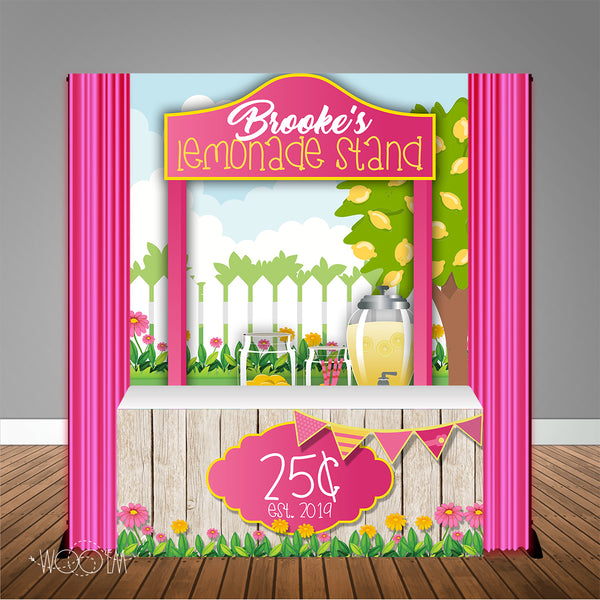 Lemonade Stand Birthday 6X6 Table Backdrop with 6ft Table Wrap, Design, Print & Ship!