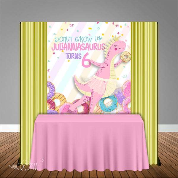 Dinosaur & Donuts 5x6 Table Banner Backdrop, Design, Print & Ship!