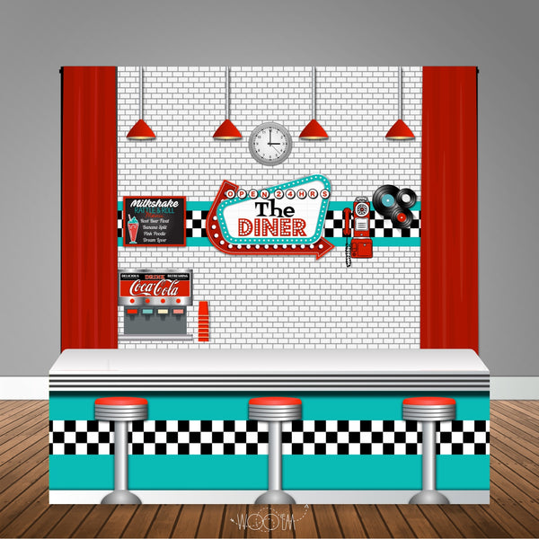 50s Diner 6x6 Table Banner Backdrop with 8ft Table Wrap/ Step & Repeat, Design, Print and Ship!