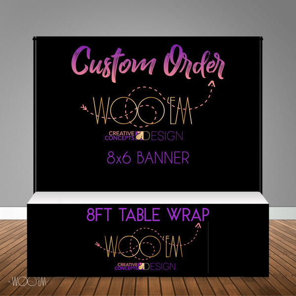Custom 8x6 Table Banner Backdrop with 8ft Table Wrap/ Step & Repeat, Design, Print and Ship!