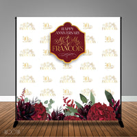 Burgundy and Gold Floral Wedding Anniversary, 8x8 Backdrop / Step & Repeat, Design, Print and Ship!