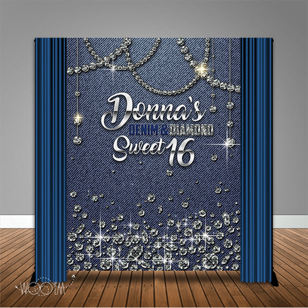 Denim & Diamonds 6x8 Banner Backdrop/ Step & Repeat Design, Print and Ship!