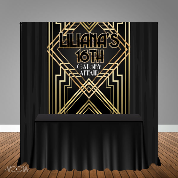 Gatsby 5x6 Table Banner Backdrop/ Step & Repeat, Design, Print and Ship!