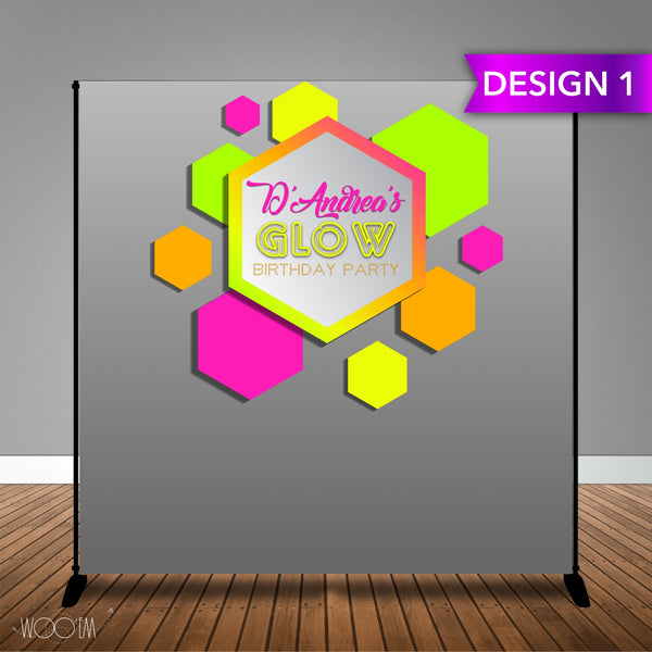 Glow Themed 8x8 Backdrop / Step & Repeat, Design, Print and Ship!