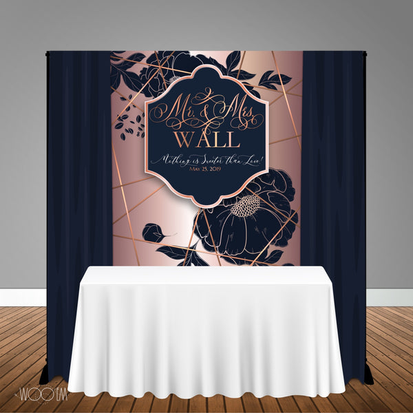 Navy and Rose Gold Wedding Bridal Shower 5x6 Table Banner Backdrop, Design, Print & Ship!