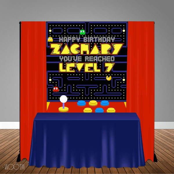 Pac-Man Arcade Themed 5x6 Table Banner Backdrop/ Step & Repeat, Design, Print and Ship!