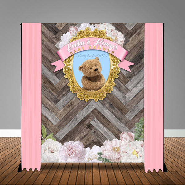 Rustic Teddy Bear Baby Shower 6x8 Banner Backdrop/ Step & Repeat Design, Print and Ship!