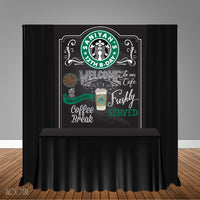 Starbucks Coffee Inspired 5x6 Table Banner Backdrop/ Step & Repeat, Design, Print and Ship!