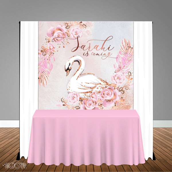 Swan Themed 6x6 Banner Backdrop/ Step & Repeat, Design, Print and Ship!