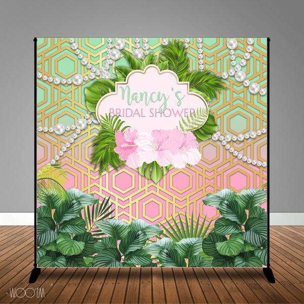 Tropical Bridal Shower, 8x8 Backdrop / Step & Repeat, Design, Print and Ship!