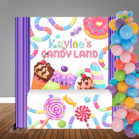 Candy Land Birthday 6X6 Table Banner Backdrop with 6ft Table Wrap, Design, Print & Ship!