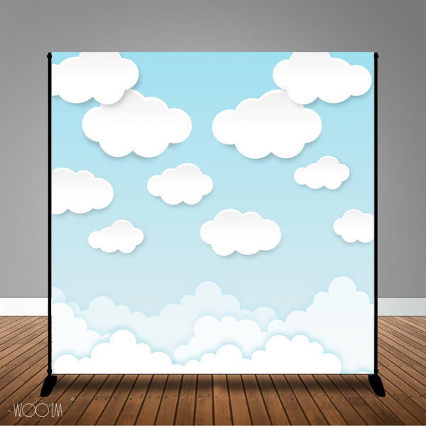 Clouds Banner Backdrop/ Step & Repeat Design, Print and Ship!