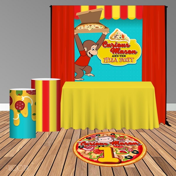 Curious George Pizza Party 5x6 Table Banner Backdrop/ Step & Repeat, Design, Print and Ship!