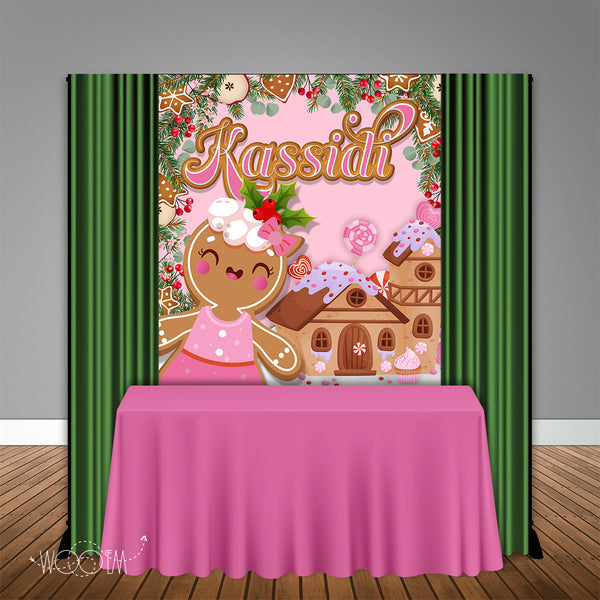Pink Gingerbread Winter 5x6 Table Banner Backdrop/ Step & Repeat, Design, Print and Ship!