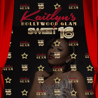 Hollywood Glam Sweet 16 Birthday, 8x8 Backdrop / Step & Repeat, Design, Print and Ship!