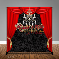 Old Hollywood Glam Birthday, 8x8 Backdrop / Step & Repeat, Design, Print and Ship!