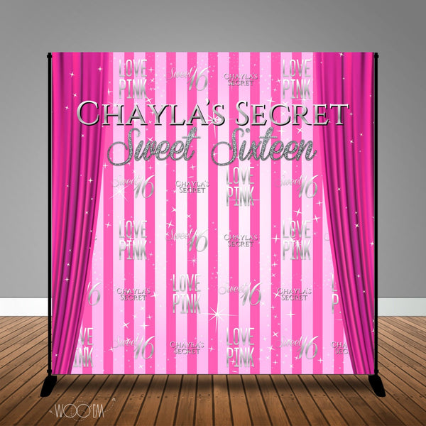 Pink Themed Sweet 16 Banner Backdrop/ Step & Repeat Design, Print and Ship!