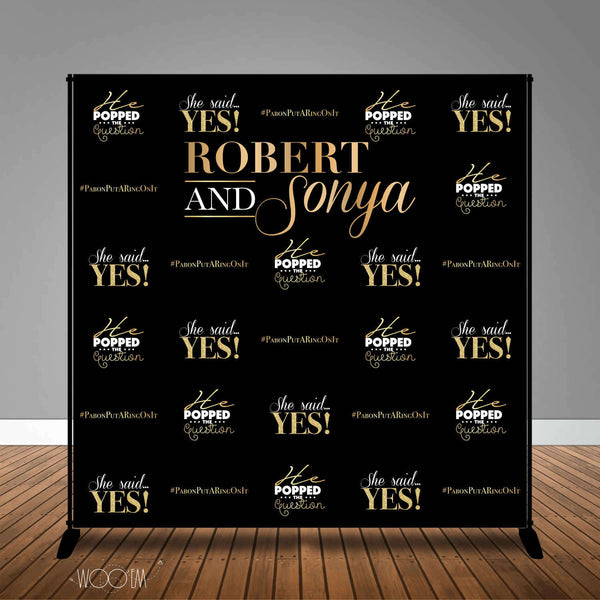 Engagement Party 8x8 Banner Backdrop/ Step & Repeat, Design, Print and Ship!