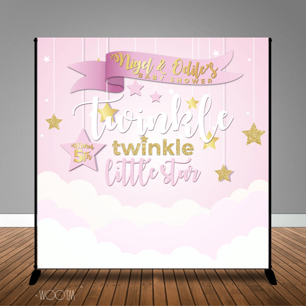 Pink Twinkle Little Star Baby Shower Banner Backdrop/ Step & Repeat Design, Print and Ship!
