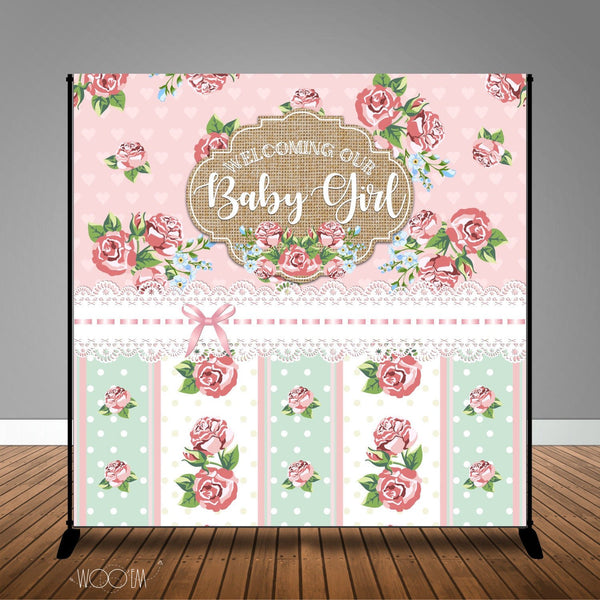 Shabby Chic Baby Shower Banner Backdrop/ Step & Repeat Design, Print and Ship!