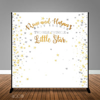 Twinkle Little Star Silver Gold Baby Shower Banner Backdrop/ Step & Repeat Design, Print and Ship!