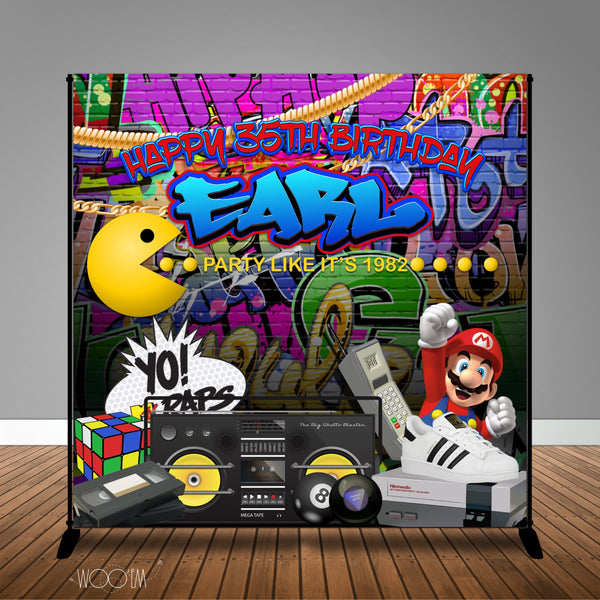 80s 90s Hip Hop Grafitti Themed 8x8 Backdrop/Step & Repeat, Design, Print and Ship!