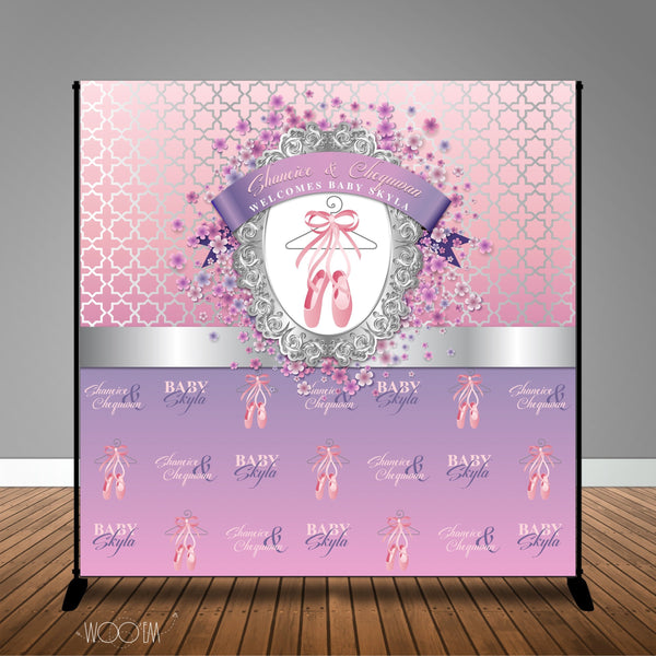 Ballerina Themed Baby Shower Banner Backdrop/ Step & Repeat Design, Print and Ship!