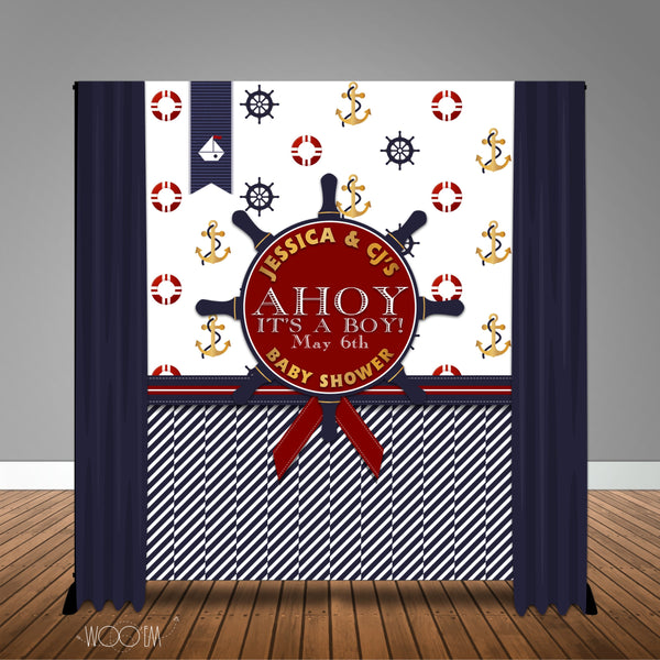 Nautical Baby Shower Backdrop/Step & Repeat, Design, Print and Ship!