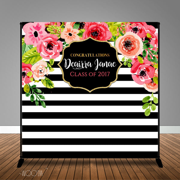 Stripes and Watercolor Floral 8x8 Backdrop / Step & Repeat, Design, Print and Ship!