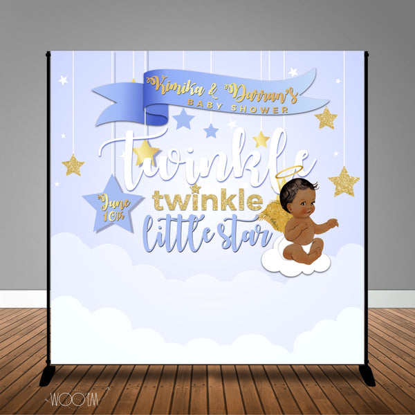 Baby Blue Twinkle Little Star Baby Shower Banner Backdrop/ Step & Repeat Design, Print and Ship!