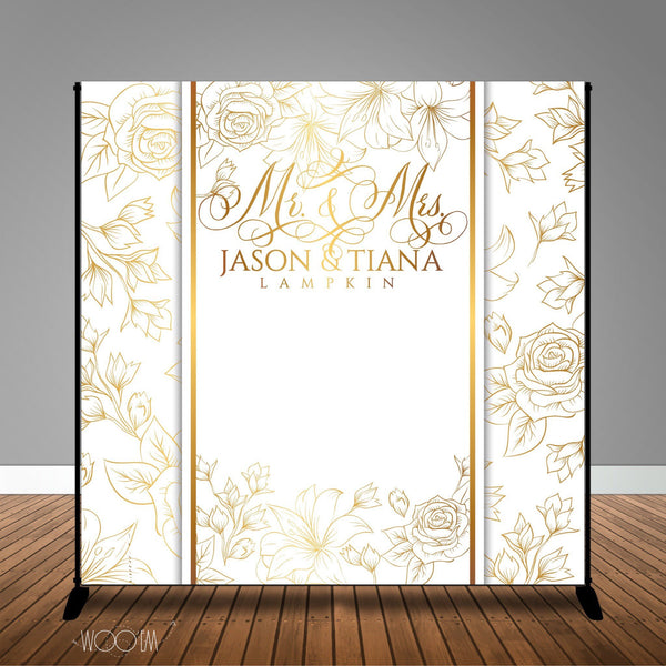 White and Gold Floral Wedding Photo, 8x8 Backdrop / Step & Repeat, Design, Print and Ship!